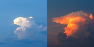 Wolken hemel met wolken vóór en tijdens zonsondergang stock afbeelding