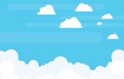 Wolken-Hintergrund mit Copyspace im flachen Vektor Lizenzfreie Stockfotografie