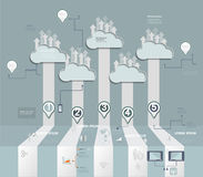 Wolken-Hosting Bewölken Sie Datenverarbeitungskonzept mit Ikone, Gruppe des Sozialen Netzes Stockbild