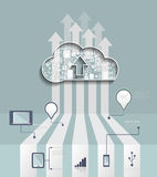 Wolken-Hosting Bewölken Sie Datenverarbeitungskonzept mit Ikone, Gruppe des Sozialen Netzes Stockfotografie