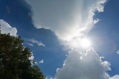 Wolken im Himmel über den Bäumen hintergrundbeleuchtet bis zum Sun Lizenzfreie Stockfotografie