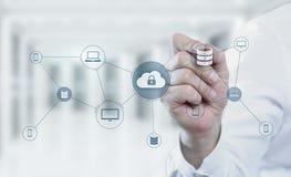 Wolken-Komputertechnologie-Internet-Speicher-Netz-Konzept stockfotografie