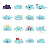 Wolken leuke emoji, smily emoticons geplaatste gezichten Vector vlakke illustratie royalty-vrije illustratie