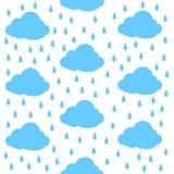 Wolken mit Regentropfen Nahtloses Muster Druck-oder Ikonen-Vektor-Illustration lizenzfreie abbildung
