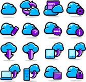 Wolken-Netzikonen eingestellt Lizenzfreie Stockfotografie