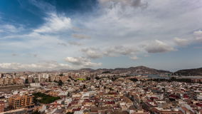 Wolken over Cartagena, Spanje stock videobeelden
