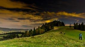 Wolken over Pieniny-bergen stock footage