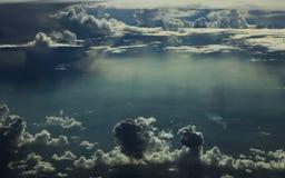 Wolken, overzees, vlucht, hemel, reis, vliegtuig, droom, vrijheid, ruimte Stock Foto's