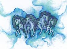 Wolken-Ponys Stockfoto