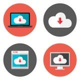 Wolken-Service-Ebenen-Ikonen eingestellt Lizenzfreies Stockfoto