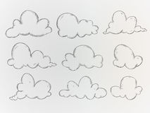 Wolken-Skizzen-Vektor-Satz lizenzfreie abbildung