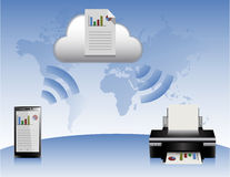 Wolken-Smartphone-Drucker Lizenzfreie Stockbilder