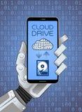 Wolken-Speicher-Service über bewegliche APP Stockbild