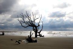 Wolken und Kontrast auf Friedhofs-Strand Stockfotos