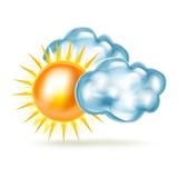 Wolken und Sonne lokalisiert auf Weiß stock abbildung