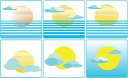 Wolken- und Sonnenwetterklima-Ikonenillustration Stockbilder
