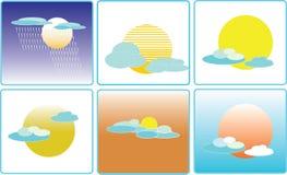 Wolken- und Sonnenwetterklima-Ikonenillustration Lizenzfreies Stockfoto