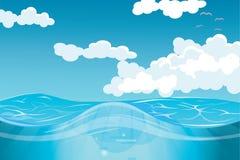 Wolken und Vektorillustration der hohen See Lizenzfreies Stockbild