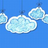 Wolken van de potlood hand-drawn schets, vector naadloze achtergrond Stock Afbeeldingen