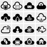 Wolken vectordiepictogrammen op grijs worden geplaatst. Stock Foto's