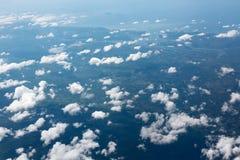 Wolken von einem Düsenflugzeug Stockfoto