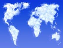 Wolken in vormkaart van aarde vector illustratie
