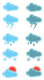 Wolken-Wetter-Vektor-Ikonen-Design Lizenzfreie Stockfotografie
