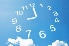 Wolkenart mit 9 Uhr oder Arbeitszeit Stockbilder