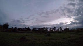 Wolkenbeweging over het gebied in de avond timelapse video stock videobeelden