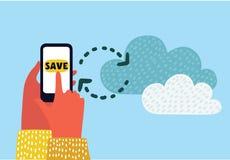 Wolkenconcept met vlakke pictogrammen van het toepassingen de grafische gebruikersinterface op slimme telefoon Royalty-vrije Stock Foto