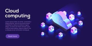Wolkendatenverarbeitung oder Speicherisometrische Vektorillustration hos 3d lizenzfreie abbildung