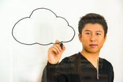 Wolkendatenverarbeitung - Schreiben auf Glas Stockfoto