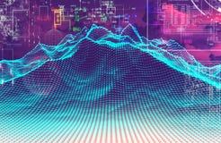 Wolkendatenverarbeitung und Technologiedesign Wiedergabe 3d Stockbild