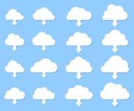 Wolkendownloadsammlung mit Schatten auf blauem Hintergrund lizenzfreie abbildung