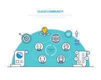 Wolkengemeenschap Vennootschap, het gezamenlijke werk, mededeling, sociale activiteit in netwerk, royalty-vrije illustratie