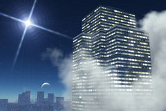 Wolkenkrabber in de nachtomslag op wolken royalty-vrije illustratie