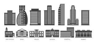 Wolkenkrabber en govermant de bouw zwart-witte reeks Stock Foto