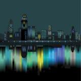 Wolkenkrabberhorizon bij nacht Stock Afbeelding