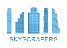 Wolkenkrabberpictogrammen De Elementen van het stadsontwerp Vector illustratie Stock Afbeelding