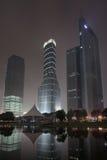 Wolkenkrabbers bij Lujiazui-gebied bij nacht, Shanghai, China Royalty-vrije Stock Foto