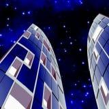 Wolkenkrabbers bij Nacht Stock Foto