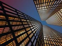 Wolkenkrabbers bij Nacht Vector Illustratie
