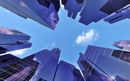 Wolkenkrabbers binnen de stad in Royalty-vrije Stock Afbeeldingen