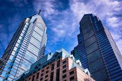 Wolkenkrabbers in Centrumstad, Philadelphia, Pennsylvania Royalty-vrije Stock Foto's