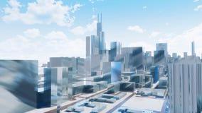 Wolkenkrabbers de van de binnenstad van Chicago vatten 3D stad samen stock illustratie