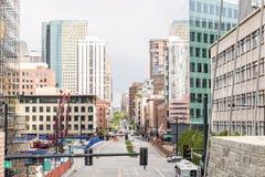 Wolkenkrabbers in Denver de stad in, Colorado Stock Foto's