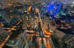 Wolkenkrabbers en Sathorn-Kruising, BTS Chong Nonsi, Bangkok Royalty-vrije Stock Foto's