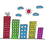 Wolkenkrabbers kleurrijk van hand in Concepten presentatie a wordt getrokken die royalty-vrije stock foto's