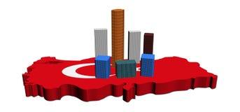 Wolkenkrabbers op de kaartvlag van Turkije Royalty-vrije Stock Fotografie