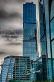 Wolkenkrabbers op de Rivier van Moskou Het Kremlin Stock Afbeelding
